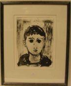 """Koller, Oskar (Erlangen 1925 - 2004 Fürth): """"Junge"""". Original-Lithografie, handsigniert,nummeriert"""