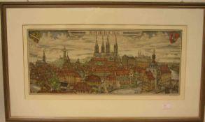 """Bamberg """"Blick auf die Altstadt"""". Radierung von Hannes Rischert, signiert, 26 x 59cm,Rahmen mit"""