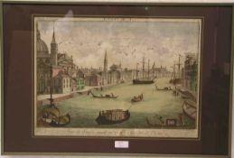"""Guckkastenblatt """"Venedig"""". Kolorierter Kupferstich. 18. Jh. Von Franz Xaver Habermann(1721 - 1796)"""
