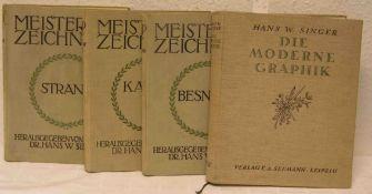 """Kunst. Vier Bücher. Dabei: drei Bände """"Meister der Zeichnung"""", """"William Strang"""", """"AlbertBesnard"""" und"""