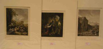 Galeriestiche nach alten Meistern. (Roos, Wouvermann, Berchem, u.a.). fünf kolorierteStahlstiche