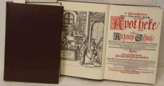 """Schröders, Johann: """"Apotheke Arzney Schatz"""" 1685. Zwei Bände, neuer Nachdruck."""