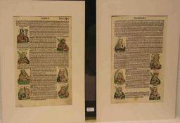 Buchholzschnitte: Gelehrte, Päpste und Heilige. 25 kolorierte Holzschnitte auf Vorder-