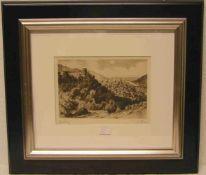 """""""Heidelberg"""", Blick auf die Stadt. Radierung, signiert: Renner. 18 x 26cm, Rahmen."""