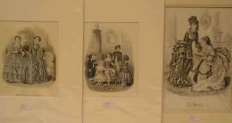 Mode de Paris. 5 Stahlstiche um 1849/53. 18 x 13 bis 22 x 16,5cm. Alle mit Pass.