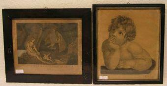 """Zwei Lithografien. Dabei: """"Genoveva mit ihrem Sohn in einer Höhle"""" und """"Knabenbrustbild""""nach einer"""