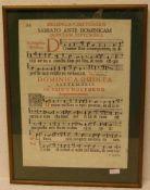 Antiphonar. 18. Jh. Kupferstich in Schwarz und Rot. Blattgröße 51 x 36cm, Rahmen mit Glas.