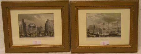 """""""London"""". Paar Stahlstiche. Dabei: Custom House"""" und """"Mansior House"""". Je: 11,5 x 14,5cm.Rahmen mit"""