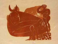 HAP Grieshaber (Rot 1909 - 1981 Reutlingen): Alb IV Das Hünengrab. Farbholzschnitt 1968.Exemplar