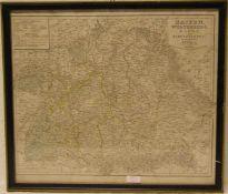 Landkarte Baiern, Würtemberg, Baden und Hohenzollern. Stahlstich, Leipzig 1849,