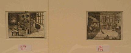 """""""Bäcker in der Backstube"""", zwei Kupferstiche um 1800. Mit Monogramm und Datum in derPlatte. Je 7,2 x"""