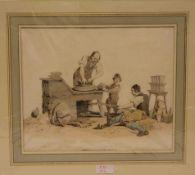 Radnabenschmied mit Gehilfen bei der Arbeit. Aquatintaradierung, London 1805, 25,5 x 35cm,Pass.