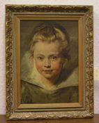 """Kinderkopf"" nach Rubens. Druck auf Leinwand, 26 x 19cm, Rahmen."