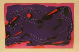 """Marino Marini (1901 - 1980): """"Moderne Komposition"""". Farblithographie, im Stein signiert,30 x 47cm,"""
