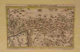 Neuburg und Donauwörth. Kupferstich, Bodenehr 1725. 18 x 27cm, Pass.