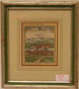 """""""Basel - Basilea"""". Kolorierter Kupferstich aus Braun und Hogenberg, Köln, 1572. 11 x9,5cm, Rahmen"""