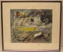 """Vog'l Norbert, geb. 1953 in Mönchengladbach: """"Danach"""". Farbradierung, signiert, 1/5, 39 x48cm,"""