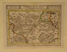 Neuburg und Umgebung. Kupferstich, Bodenehr 1720, 17 x 22cm. Pass.