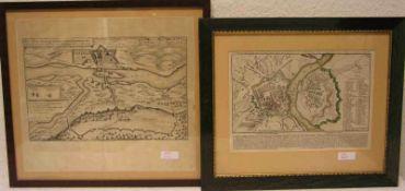 Schloss Brandeis in Böhmen. Lageplan aus der Zeit des 30jährigen Krieges, 1640.Militärplan von