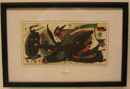 """Miro: """"Moderne Komposition"""". Farblitho, in der Platte signiert, 20 x 39cm, Rahmen mitGlas."""