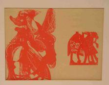"""Grieshaber: """"Moderne Komposition"""". Holzschnitt, 22 x 28cm, Pass."""