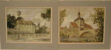 """""""Bamberg"""". Zwei Aquarelle. Dabei: """"An der Concordia"""" und """"Das Alte Rathaus"""". Unleserlichsigniert,"""