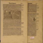 Helvetia, Sebastian Münster aus Cosmographia um 1580. 14 Blatt mit insgesamt über 60Holzschnitten.