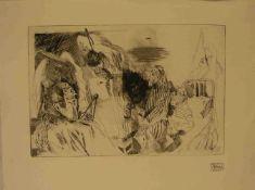 "Hrdlicka, Alfred (1928 - Wien - 2009): ""Melancholie"". Radierung, Stempelsignatur, 33 x49cm."