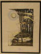 "Dunkelberg, Len: ""Komposition"". Farbdruck, handsigniert, 1985, nummeriert 47/200, 29 x19cm."