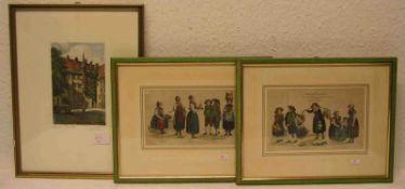 """Trachten """"Königreich Baiern"""" und """"Tirol"""". Kolorierte Federlithos, 12 x 19cm. Dazu:Radierung von Otto"""