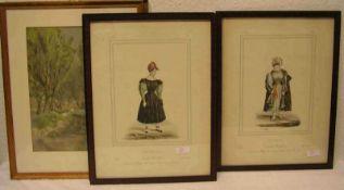 Drei Trachtendarstellungen. Frankreich. 19. Jh. Farblithografien, 24 x 18cm. Rahmen mitGlas. Dazu: