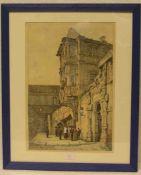 """""""Bamberg: Vor der alten Hofhaltung"""". Mit Personenstaffage. Farblithografie, 42 x 29cm."""