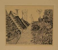 """Vincent van Gogh: """"Dorflandschaft"""". Zinkätzung, 18 x 21cm, Pass."""