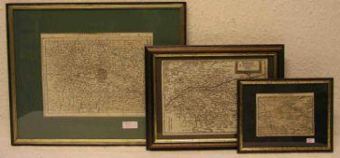 """Drei Kupferstiche. Dabei: """"Galliae Belgicae von Honduis"""", 1618, 9,5 x 13cm. """"HerzogtumTouraine"""""""