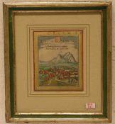 """""""Schweiz - Svicia"""". Kolorierter Kupferstich aus Braun und Hogenberg. Köln, 1572. 11 x 9cm.Rahmen mit"""