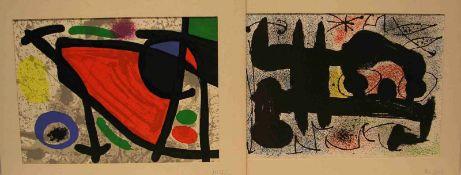 "Miro: ""Komposition"". Zwei Blatt Farblithografien, 27 x 37cm."