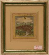 """""""Schaffhausen - Schaphusia"""". Kolorierter Kupferstich aus Braun und Hogenberg, Köln, 1572.11 x"""