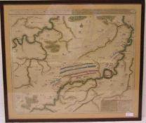 Schlachtplan. Dei Schlacht bei Oudenaarde 11. Juli 1708 während des SpanischenErfolgekrieges.