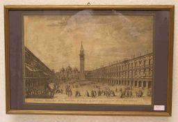 """""""Venedig: Markusplatz"""". Kupferradierung von Giovanni Battista Brustolon (1712 - 1796). 30x 43cm."""