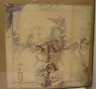 """Horst Janssen: Plakat """"Ergo"""". Farboffset, mit Bleistift monogrammiert, 70 x 64cm."""