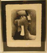 """Horst Antes: """"Kopffüßler"""". Lithografie, signiert, 2/101, 39 x 31cm, Wechselrahmen.- - -20.17 %"""
