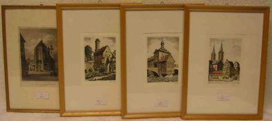"""Reiter: """"Bamberg"""". Drei Farbradierungen. Dabei: """"Das alte Rathaus"""", """"Dom"""" und """"Altenburg"""".Je ca."""