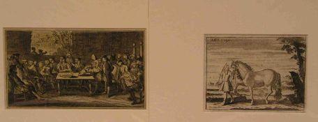 """Zwei Lithos und ein Kupferstich. Dabei: """"Reitschule und Unterweisung beim Pferdeveterinär""""nach"""