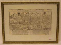 """Landau """"Die Stadt Landaw"""". Gesamtansicht, aus Sebastian Münster """"Cosmographie"""" 1574. 24 x38cm,"""