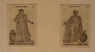 Orientalische Persönlichkeiten in ihrer Tracht. Zwei Blatt Holzschnitte um 1700 aufBütten. 19 x 11,