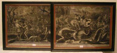 """""""Die Hirschjagd"""". Zwei Schabkunstblätter von 1723, Ernst Philipp Thomann (wohl E.P.T."""