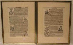 Zwei Textblätter aus einem gedruckten Buch mit Königen und Gelehrten. 16./17. Jh. 38 x26cm, Rahmen