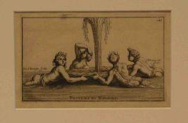 """Thomassin (1652 - 1732)""""Tritonen und Nereiden"""". Kupferstich auf Bütten. 12 x 19cm. Pass.- - -20.17 %"""