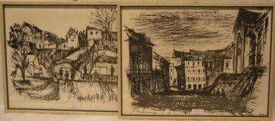 """Greiner, Anton (1914 - 2007) zwei Lithographien: """"Bamberg - Unterer Kaulberg"""" und""""Concordia - vom"""