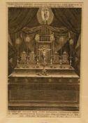 """Salmusmüller: """"Altar mit vier Reliquienbehältern im Kerzenschein"""". Kupferstich aus NovumMissale"""